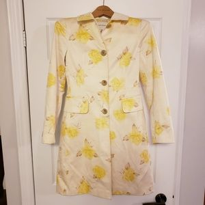 BR YELLOW FLORAL ROSE OVERCOAT LONG SPRING COAT XS